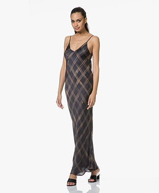 Mes Demoiselles Grenelle Satin Maxi Printed Dress - Black Square
