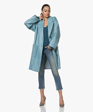 Pomandère Oversized Mohair Blend Coat - Ice Blue