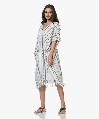 SLUIZ. Ibiza Holes Kaftan Dress - Off-white/Black