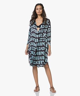 SLUIZ. Ibiza Loose-fit Print Tunic Dress - Letters