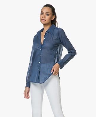 Sluiz. Ibiza Knot Shirt in Cotton - Navy