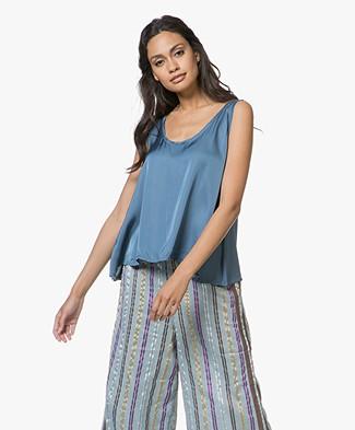 SLUIZ. Ibiza Cotton and Silk Top - Greyish Blue