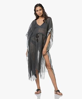 SLUIZ. Ibiza Ruby Linen Kaftan Dress - Carbon