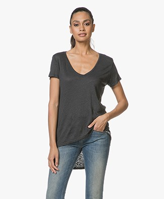 SLUIZ. Ibiza Linen V-Neck T-shirt - Black
