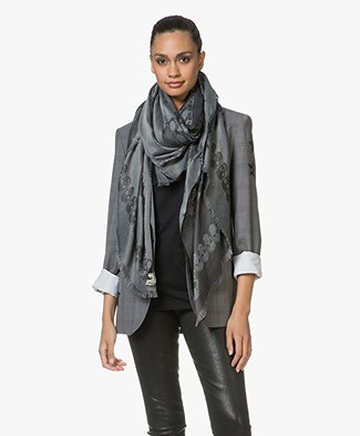 Zadig & Voltaire Kerry Garden Jacquard Scarf - Anthracite
