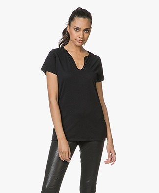 Zadig & Voltaire Tunisien Affich Cowbo T-shirt - Black