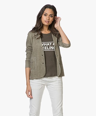 Majestic Daria Blazer in Double-faced Jersey - Khaki Melange/Ecru