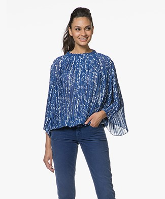 ba&sh Siam Plisse Blouse with Print - Blue