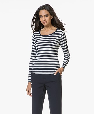 Closed Striped Long Sleeve T-shirt - Blanched