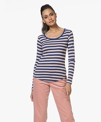 Closed Striped Long Sleeve T-shirt - Rosy