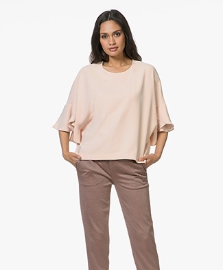 IRO Ultra Crepe Blouse with Frill Sleeves - Nude