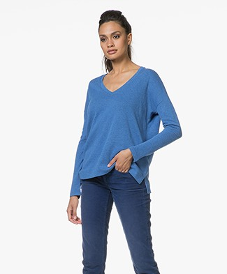 Majestic Long Sleeve T-shirt in Cashmere Blend - Winter Blue/Anthracite Melange