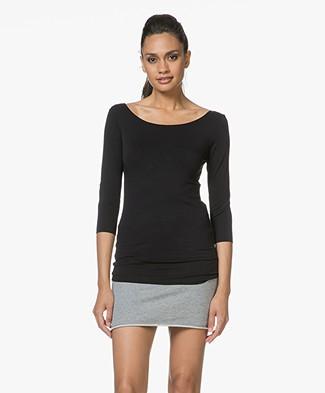 Majestic Filatures Adele T-shirt with Three-quarter Sleeves - Black