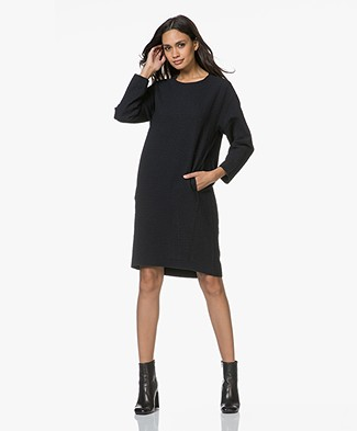 Pomandère Two-tone Dress in Virgin Wool Blend - Black/Dark Blue