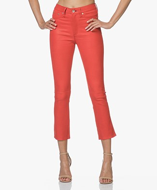 Rag & Bone Hana Leather Flared Pants - Red