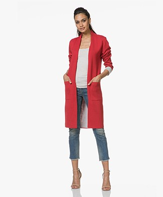 Sibin/Linnebjerg Marika Long Two-Tone Cardigan - Red/Light Grey Melange