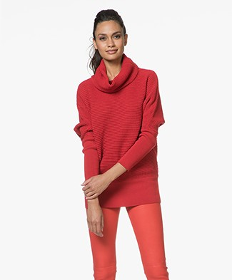 Sibin/Linnebjerg Tut Pullover with Draped Cowl - Red