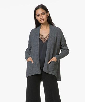 Sibin/Linnebjerg Zeta Wool Blend Open Cardigan - Grey Melange