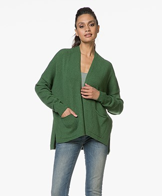 Sibin/Linnebjerg Zeta Wool Blend Open Cardigan - Clear Green