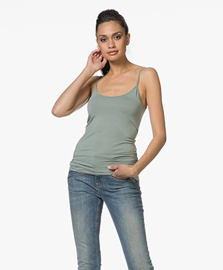 Majestic Anais Soft Touch Jersey Spaghetti Strap Top - New Army