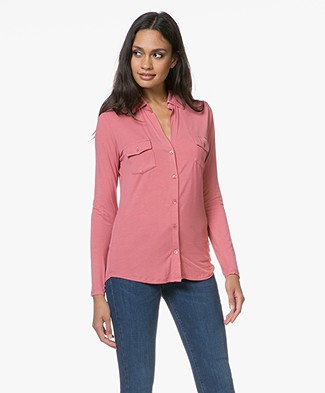Majestic Filatures Anya Jersey Split Neck Blouse - Blush