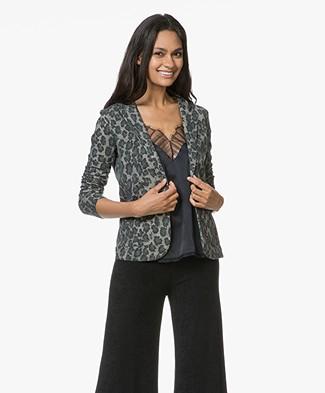 Majestic Jersey Blazer with Print - Leopard Khaki