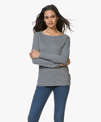 Majestic Long Sleeve T-shirt in Cotton and Cashmere - Grey Melange