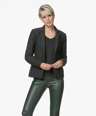 Majestic Filatures Quilted Blazer Jacket - Anthracite Melange