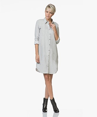Majestic Cotton Shirt Dress with Jersey Back Panel - Brume Melange