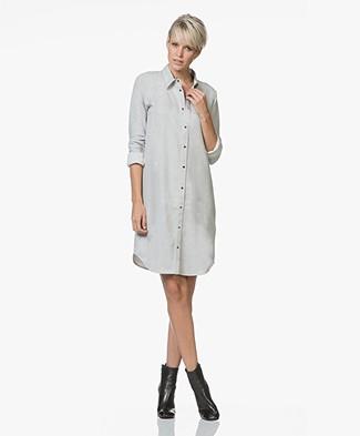Majestic Filatures Cotton Shirt Dress with Jersey Back Panel - Brume Melange