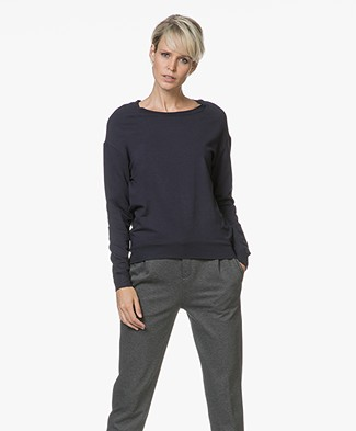 Majestic Laurie Sweater in Fleece Jersey - Marine