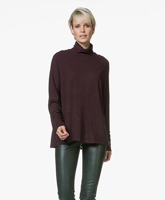 Majestic Oversized Colshirt in Fleece Jersey - Aubergine