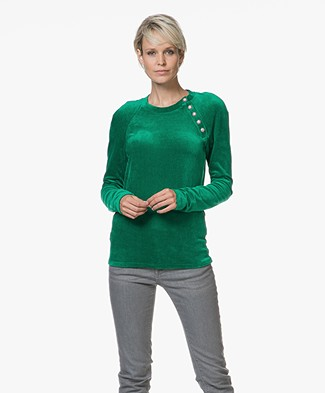 Majestic R-neck Pullover in Velours Jersey - Green