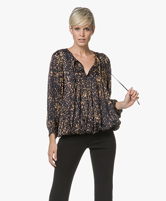 Mes Demoiselles Gallieni Viscose Satin Blouse - Black Dot