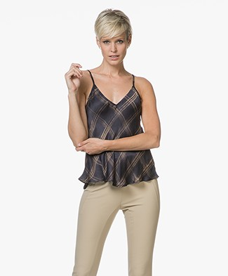 Mes Demoiselles George Printed Viscose Top - Black Square