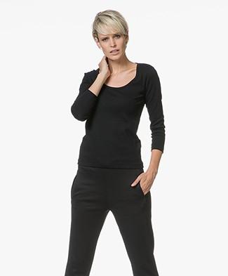 Petit Bateau T-shirt met Driekwart Mouwen - Zwart