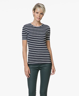 Petit Bateau Striped T-shirt - Smoking/Marshmallow
