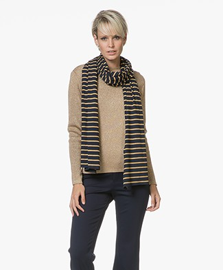 Petit Bateau Titetole Striped Scarf - Smoking/Brindille Satin