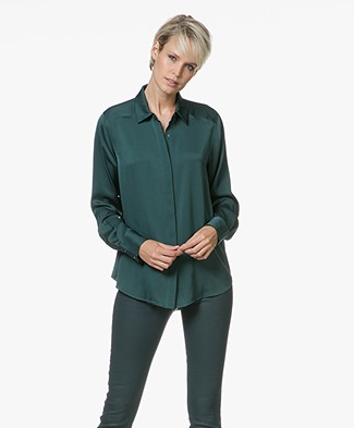 Repeat Silk Blouse - Forest