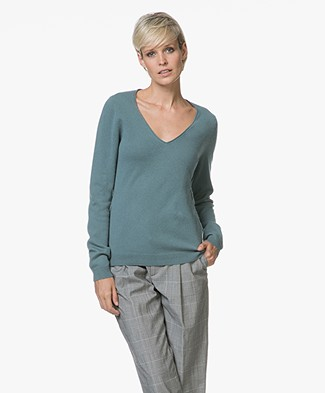 Repeat Cashmere V-hals Pullover - Lake