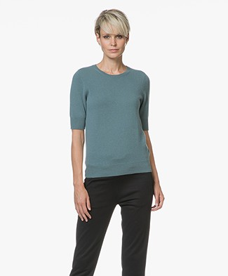 Repeat Short Sleeve Cashmere Pullover - Lake