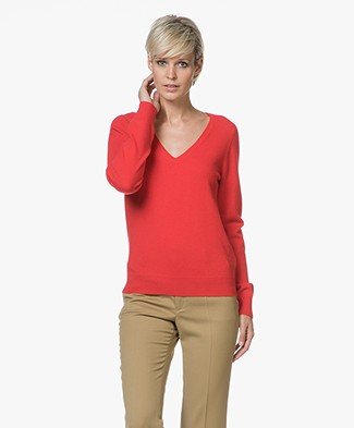 Repeat Cashmere V-hals Pullover - Rood