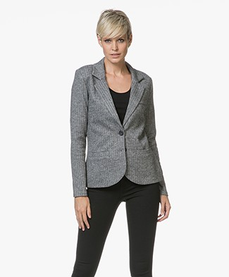 Repeat Herringbone Tweed Blazer - Black/Light Grey