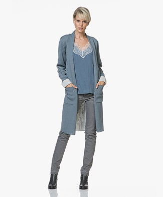 Sibin/Linnebjerg Marika Long Two-Tone Cardigan - Blue Mirage/Light Grey Melange