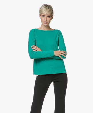 Majestic Jersey Long Sleeve in Cotton and Cashmere - Green