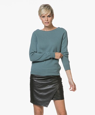 Repeat Cashmere Boothals Trui - Lake