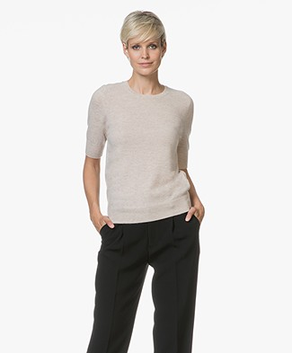 Repeat Short Sleeve Cashmere Pullover - Beige