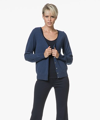 Repeat Cashmere V-neck Cardigan - Dark Blue