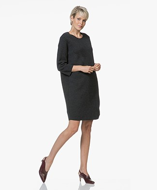 Sibin/Linnebjerg Savanna Merino Wool Blend Knitted Dress - Anthracite