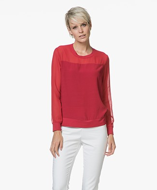 Denham Union Viscose Crêpe de Chine T-shirt - Rogue Red